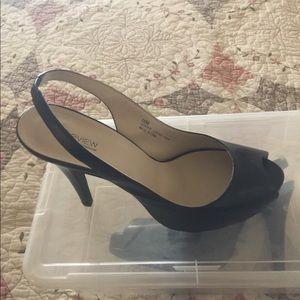 Black Leather Sling Back Peep Toe 4' Heels.